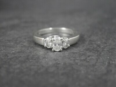 Vintage 14K White Gold .50 Carat 3 Stone Diamond Ring Size 7