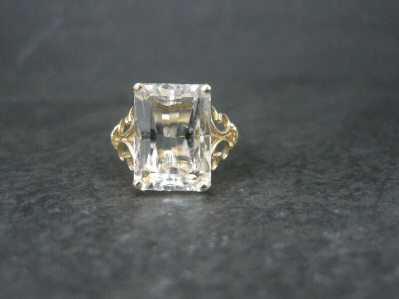 Vintage 14K White Topaz Ring Size 9