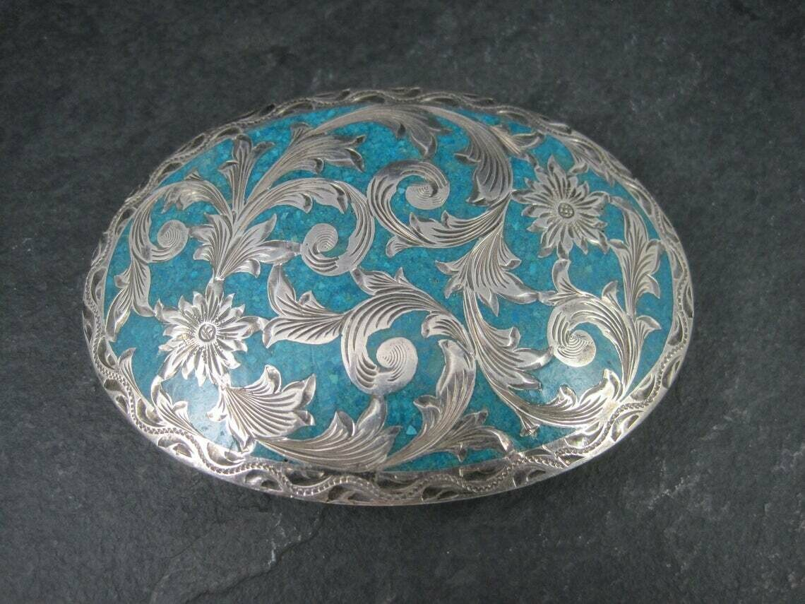 Ladies Vintage Sterling Turquoise Inlay Belt Buckle Flemming