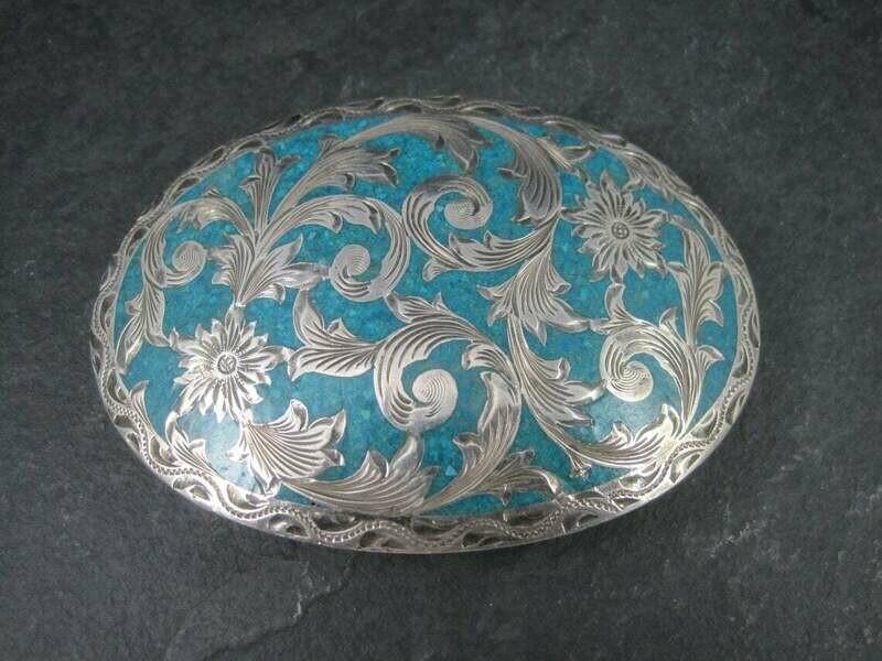 Ladies Vintage Sterling Turquoise Inlay Belt Buckle Flemming