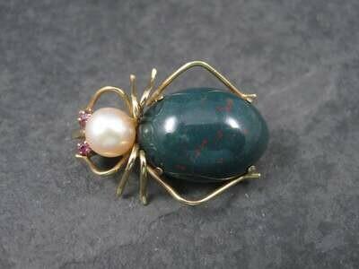 Vintage 14K Bloodstone Pearl Spider Brooch