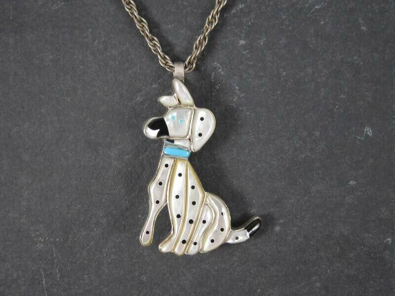 Vintage Inlaid Dalmatian Zunitoons Pendant Brooch