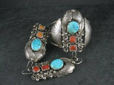 Huge Vintage Native American Sterling Turquoise Coral Slave Bracelet 6.25 Inches Size 8.5