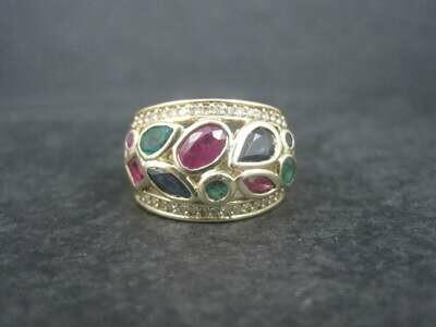 Effy 14K Sapphire Emerald Ruby Diamond Ring Size 7