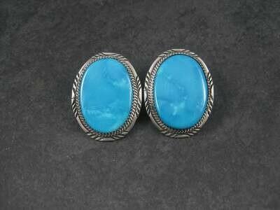 Large Vintage Navajo Blue Gem Turquoise Earrings Begay