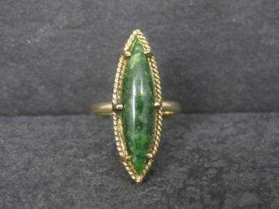 Long Vintage 10K Jade Ring Size 7.75