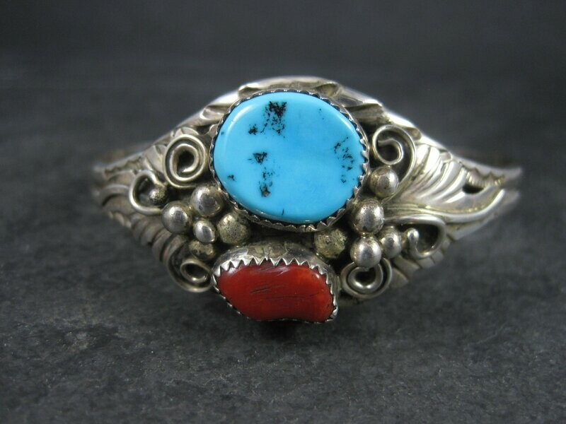Vintage Navajo Turquoise Coral Cuff Bracelet 6.5 Inches Augustine Largo