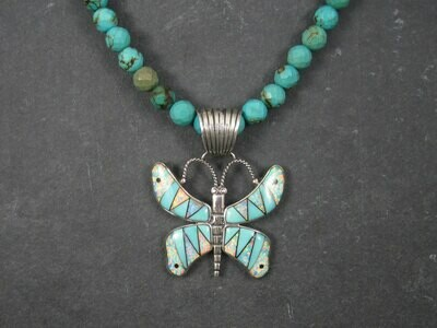 Sterling Inlaid Turquoise Butterfly Pendant Necklace