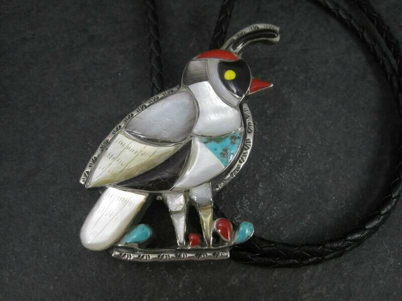 Large Vintage Southwestern Sterling Inlay Quail Bolo Tie