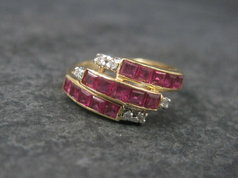 Vintage 14K Princess Cut Ruby and Diamond Ring Size 5.5