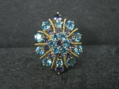 Vintage 10K Blue Topaz Amethyst Ring Size 10.5
