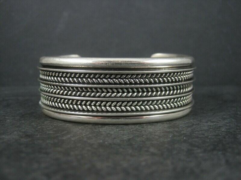 Vintage Sterling Navajo Cuff Bracelet 6.5 Inches Tom Hawk