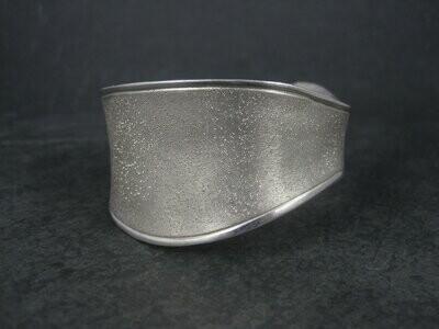 Wide Vintage Sterling Wave Cuff Bracelet Charles Garnier 6.5 Inches