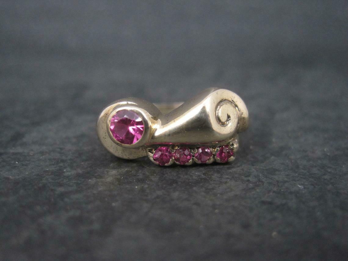 Unique Art Deco 10K Pink Ruby Ring Size 7