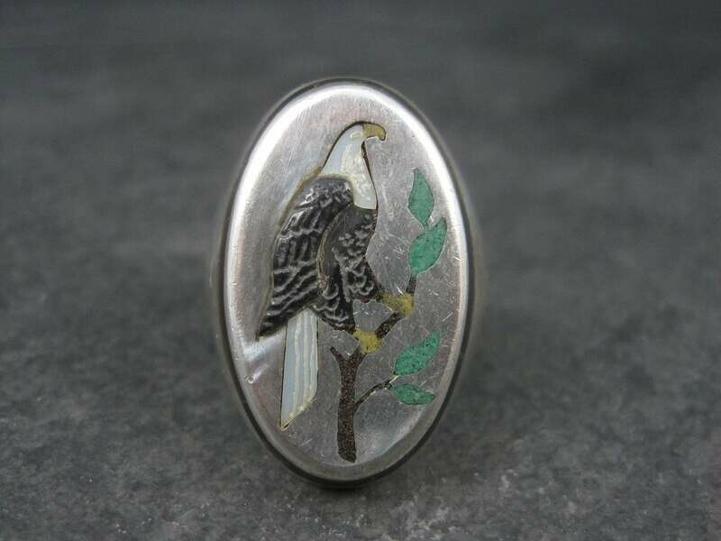 Vintage Native American Inlay Eagle Ring Henry and Linda Barber Size 12