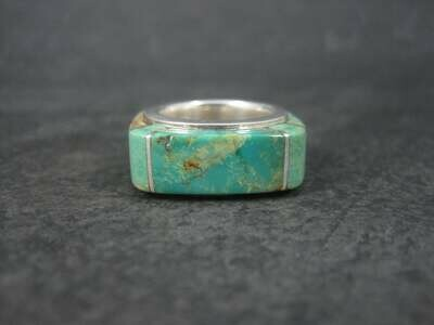 Unique Southwestern Sterling Turquoise Inlay Ring Size 5