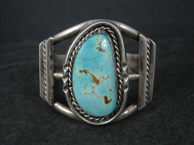 Vintage Southwestern Sterling Turquoise Cuff Bracelet 6.25 Inches