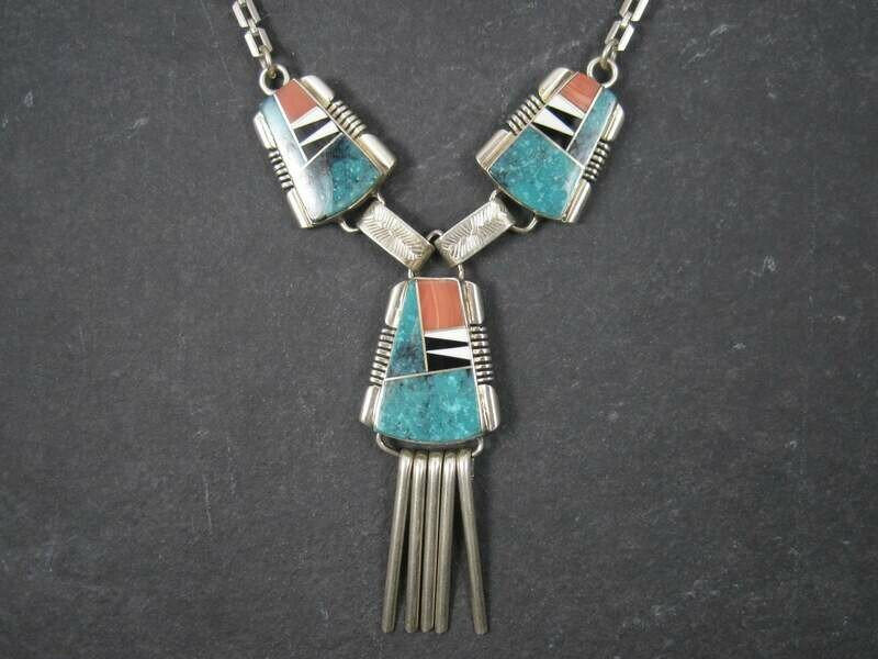Vintage Navajo Turquoise Inlay Necklace John Charley