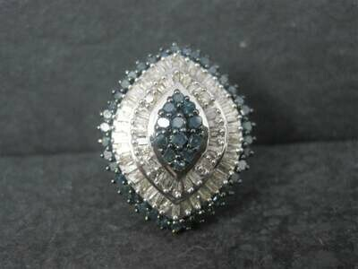Huge Sterling 2 Carat Blue and White Diamond Ring Size 7