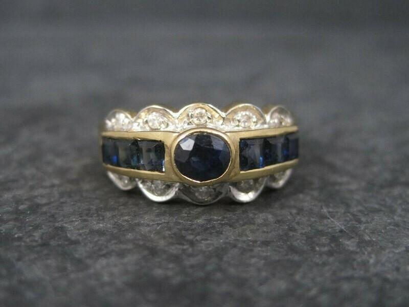 Vintage 14K Sapphire Diamond Ring Size 6.25