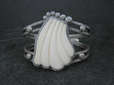 Vintage Native American Carved Bone Shell Cuff Bracelet Sterling 6.25 Inches