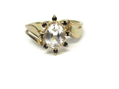 Vintage 14K White Sapphire Black Spinel Ring Size 7