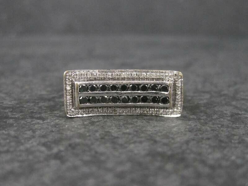 Vintage White Gold .64 Ctw Black and White Diamond Ring Size 8.5