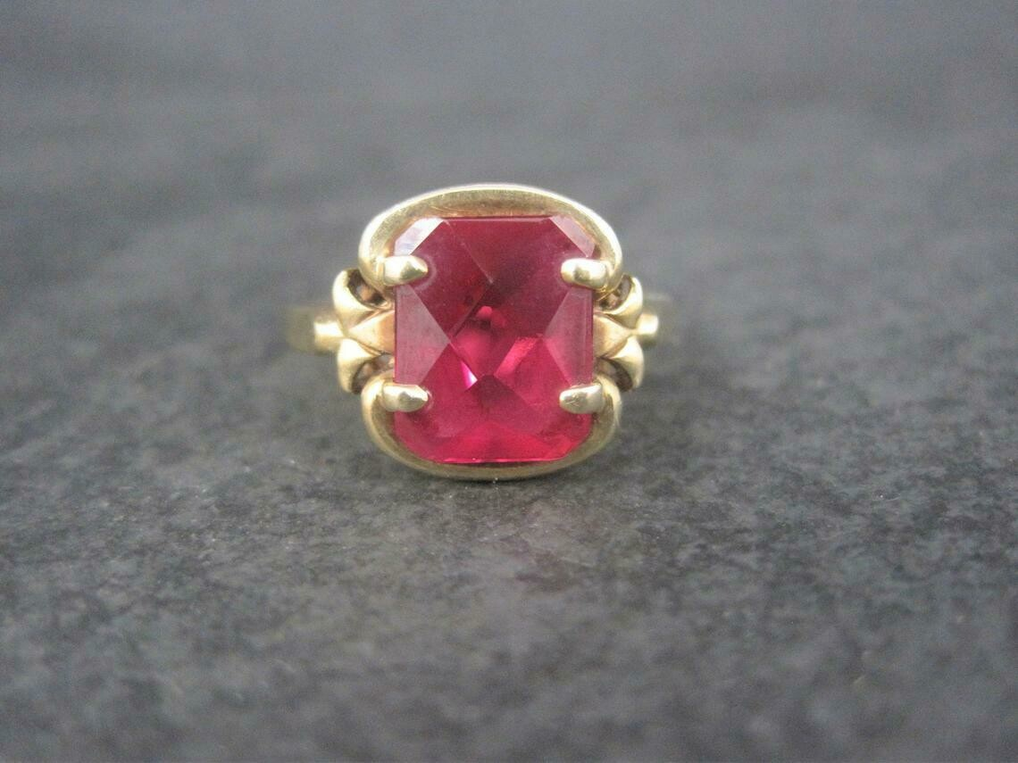 Antique 10K Synthetic Ruby Ring Size 6 Kaynar