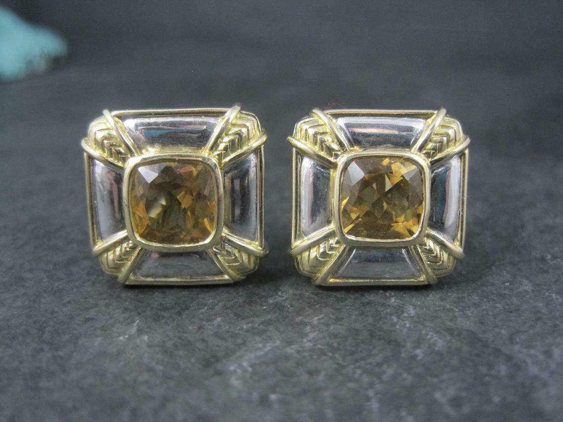 Estate 18K Sterling Citrine French Back Earrings