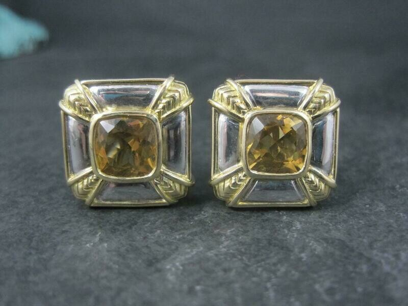 Estate 18K Sterling Citrine French Back Earrings