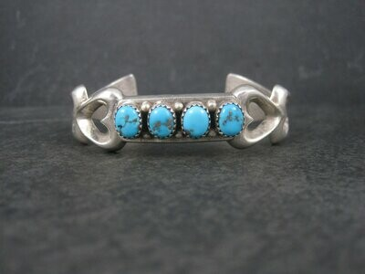 Vintage Native American Sandcast Turquoise Heart Cuff Bracelet 6.25 Inches