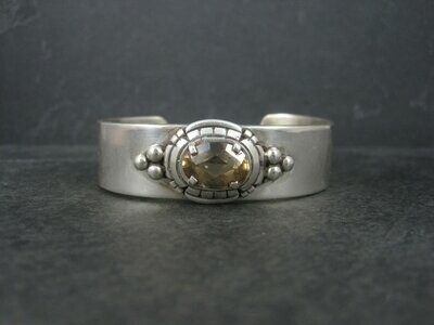 Heavy Southwestern Sterling Citrine Cuff Bracelet 6.5 Inches