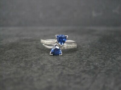 Vintage 90s 10K White Gold Sapphire Diamond Ring Size 9.75