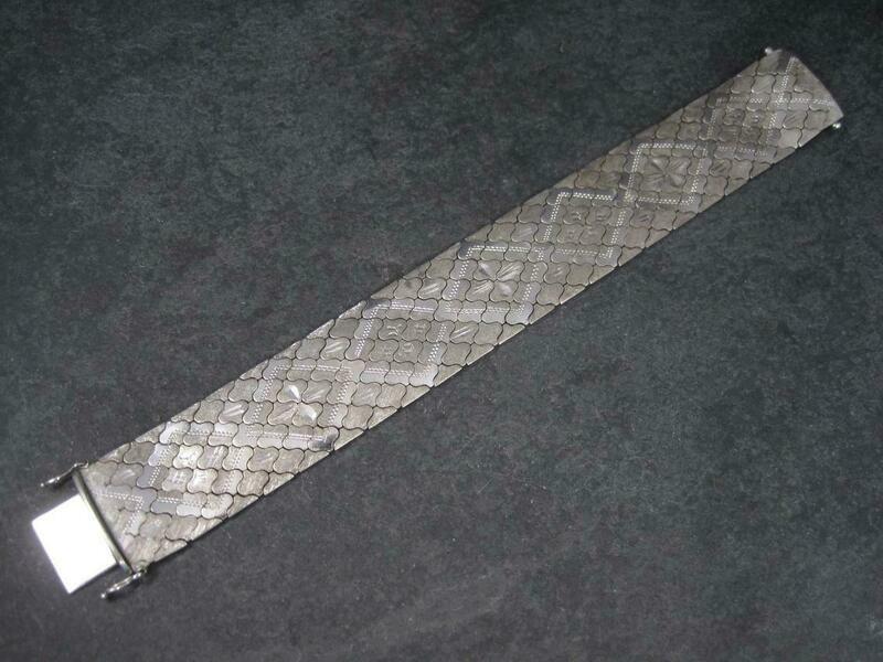 Wide Estate Italian Sterling Snake Bracelet 7.5 Inches