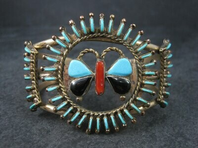 Vintage Needlepoint Turquoise Butterfly Cuff Bracelet Paul Lucario