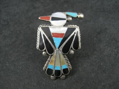 Huge Vintage Sterling Zuni Inlaid Thunderbird Bird Ring Size 7.5
