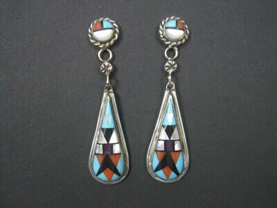 Long Vintage Southwestern Sterling Inlay Earrings