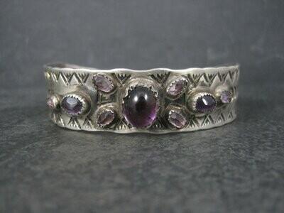 Vintage Southwestern Sterling Amethyst Cuff Bracelet 6.5 Inches