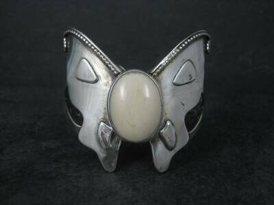 Large Vintage Southwestern Sterling Agate Butterfly Cuff Bracelet 6 Inches