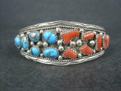 Estate Navajo Turquoise and Coral Cuff Bracelet Irvin Chee 6.25 Inches