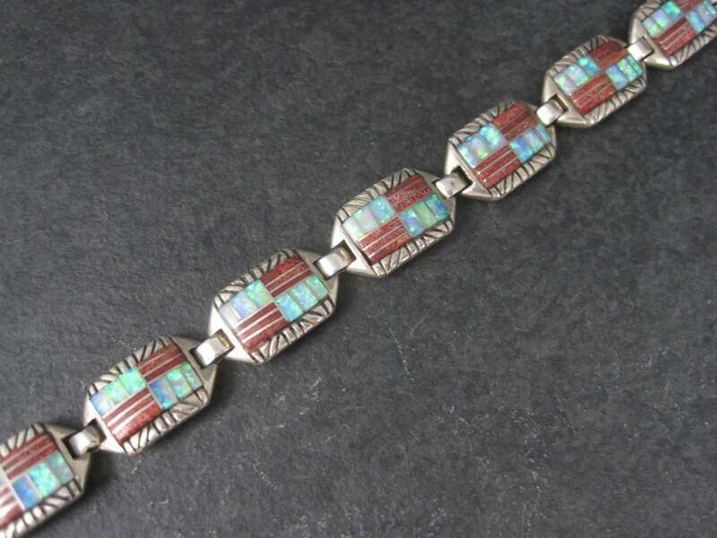 Vintage Southwestern Coral Opal Inlay Bracelet