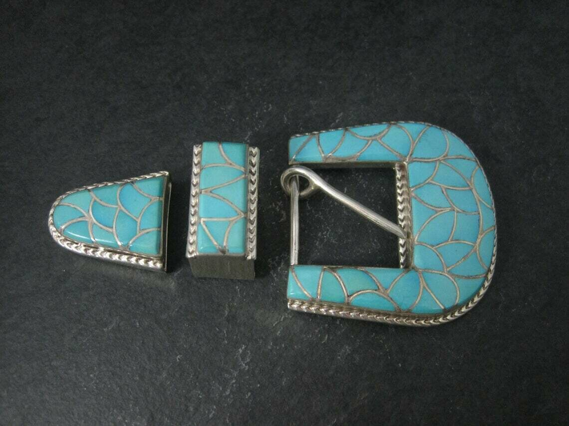 Navajo Sterling Turquoise Inlay Belt Buckle Set Emma Bonney