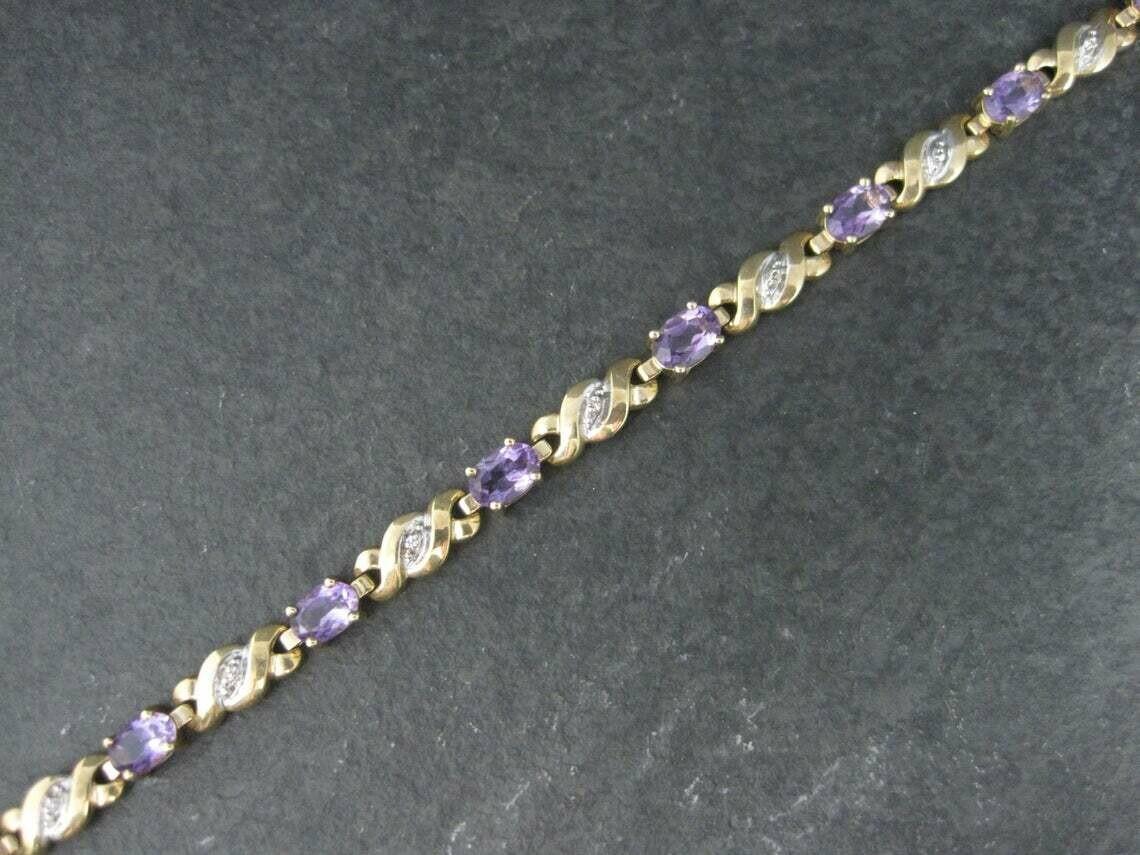 Vintage 10K Amethyst Bracelet 7 Inches