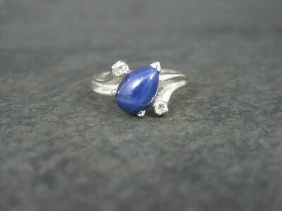 Vintage 14K Star Sapphire Diamond Ring Size 6.5