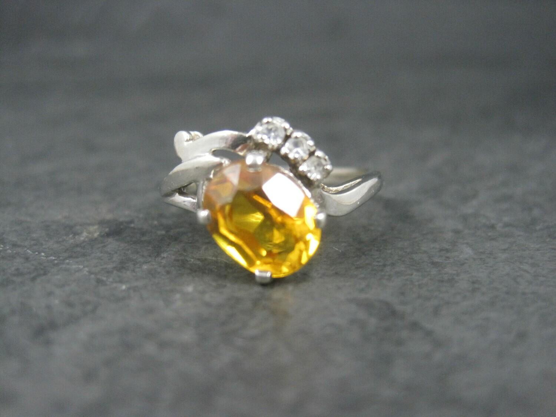 Vintage 10K Yellow Orange Sapphire Ring Size 8