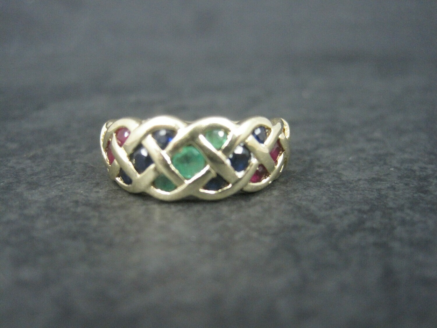 Vintage 14K Ruby Sapphire Emerald Ring Size 7