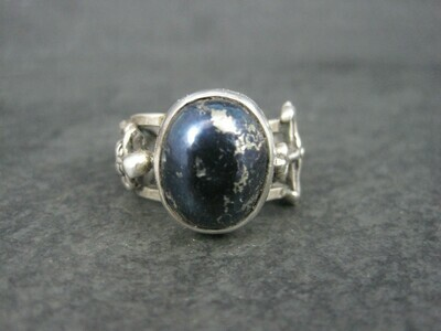 One of a Kind Covellite Skeleton Cross Mourning Ring Size 7