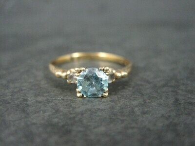 Antique 10K Blue Zircon Engagement Ring Size 10