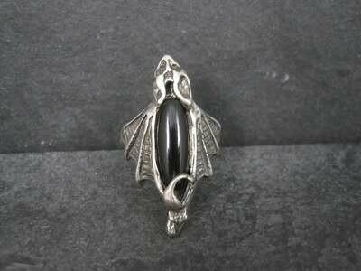 Vintage Sterling Onyx Vampire Bat Ring Size 12