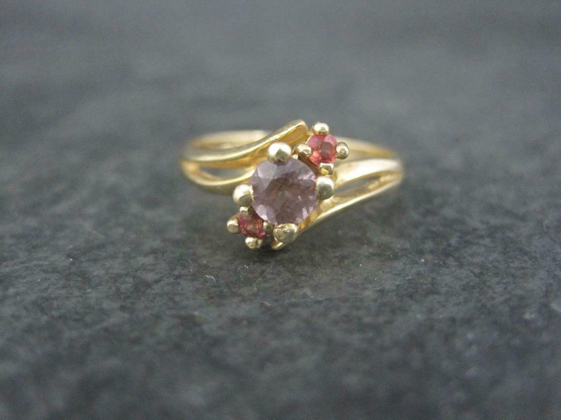 Estate 10K Zircon Fire Opal Ring Size 6